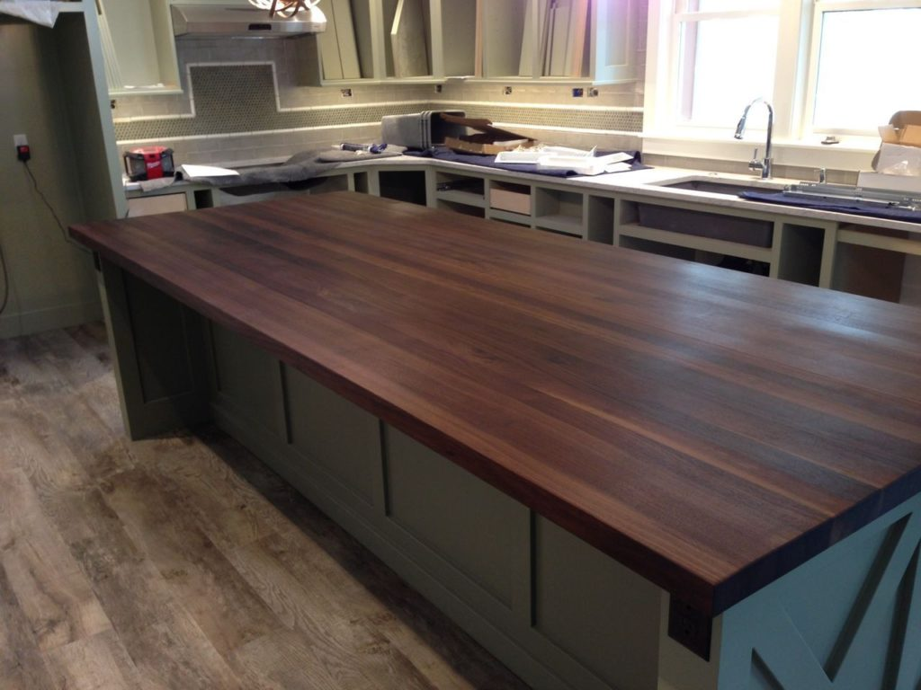 Edge Grain Wood Countertop Island