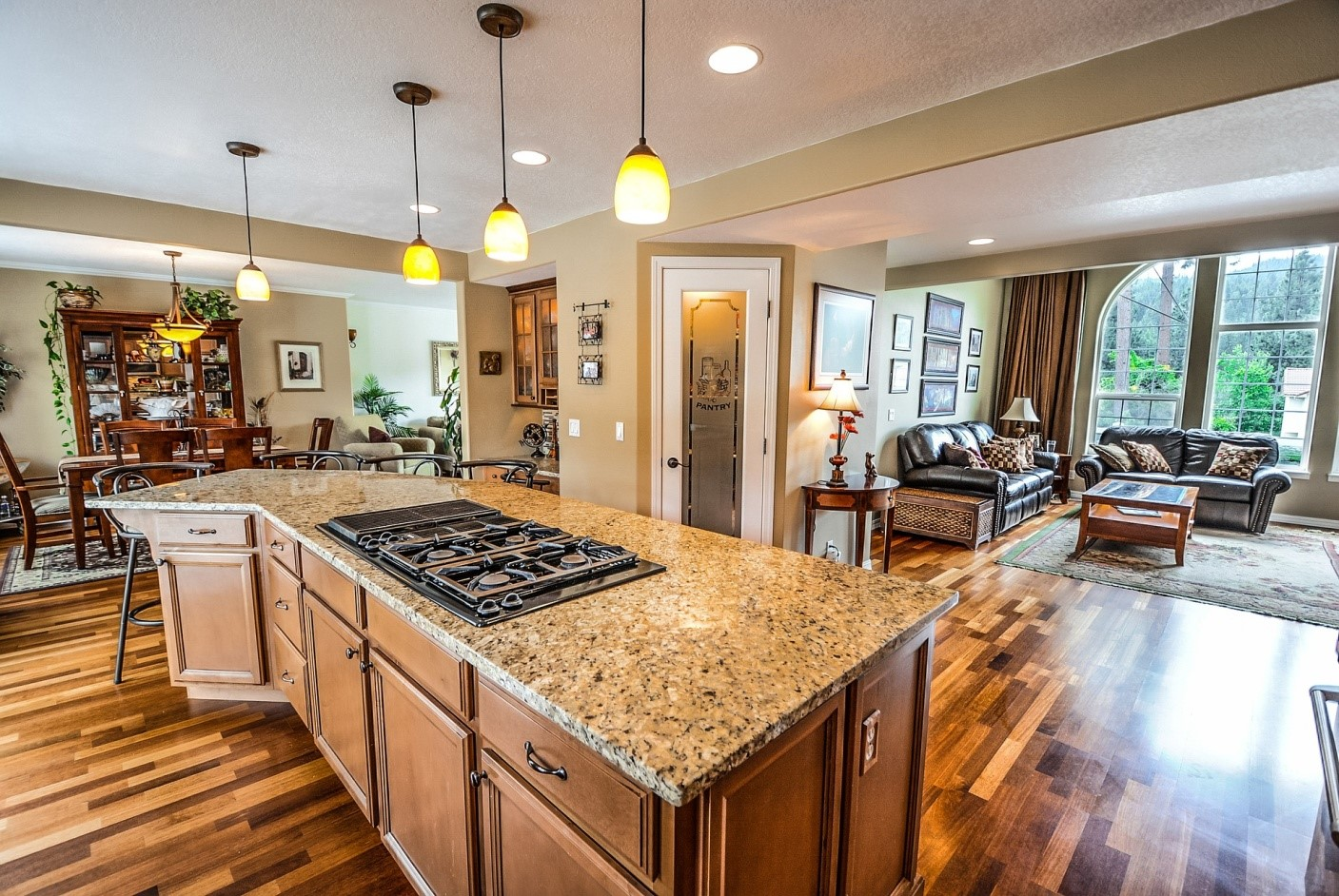 Solid Surface kitchen island overlooking the living room